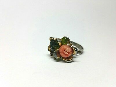 Antique Coral and Green Peridot Floral Adjustable Ring Art Nouveau