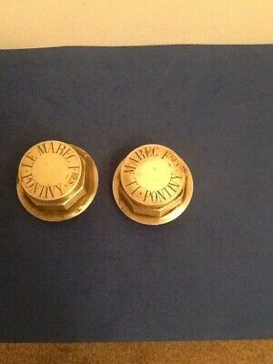 Rare Pair Of French Brass Hub Caps Pontivy.