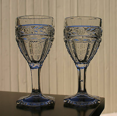 """Antique Wine Stems > A Pair Of Eapg Pattern """"Rose Band"""" Nonflint Stems"""