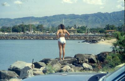 Swimsuit Woman Back to Camera Takes in The View Vintage 1981 Slide Photo