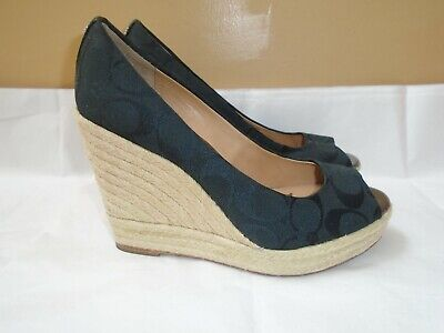 cc989c4b909 COACH MILAN SIGNATURE Peep Toe Espadrille Wedge Shoes - Women's SZ 7.5 / 7