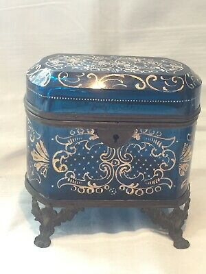 * Large Antique French Glass Casket Box hand painted with Key