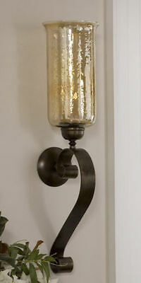 Scrolling Wall Sconce Bronze 30H Amber Glass Candle Holder Forged Metal Tuscan
