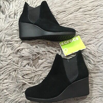 8aa29800f New~ CROCS~ Women s SUEDE Leigh Wedge Chelsea Boot Black Standard Fit~ Size  6