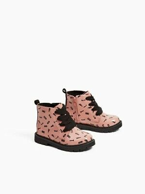 Zara Baby Girls Printed Faux Patent Finish Boots Shoes 7001/303 Size 9.5 NWT