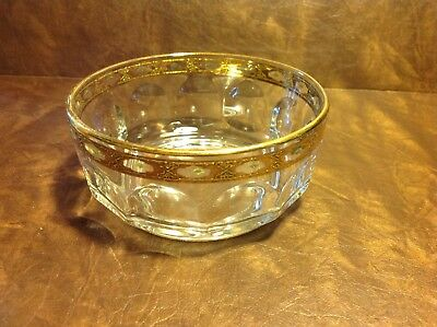 ARCOROC FRANCE GLASS Thumbprint Gold Band Dessert/ Salad/ Fruit Bowls only 1