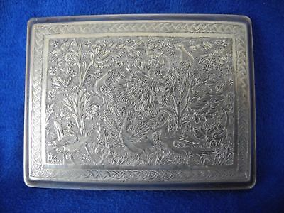 Persian 84 Silver Chased Birds & Flowers Cigarette Case / Card Holder