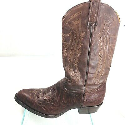 e65bd532a91 RUDEL WESTERN COWBOY Brown Handcrafted Leather Boots Men's size 11 ...