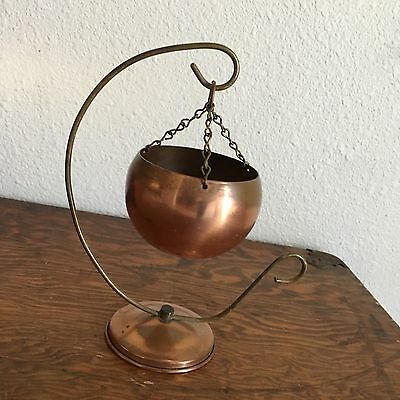 Coppercraft Guild Copper Hanging Pot Dish Candle Holder Planter~Brass Hanger