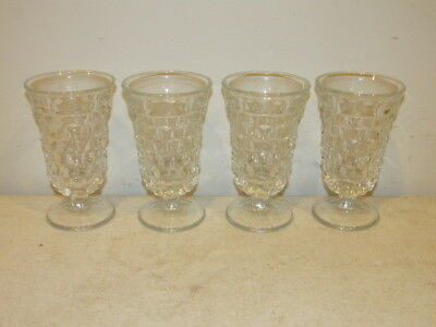 """Vintage Set of 4 Fostoria American 4 3/4"""" High Flared Footed Glasses VFC"""