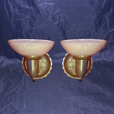 Beautiful Sconces Vintage Antique Wired Pair Slip Shades Brass 8A