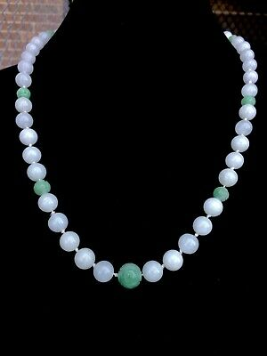 OUTSTANDING Chinese Apple Green White Carved Bead Necklace 14k Clasp Estate