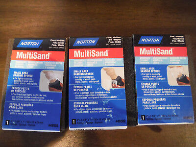 NEW Lot of 3 NORTON Multisand Fine / Medium Sanding Sponges