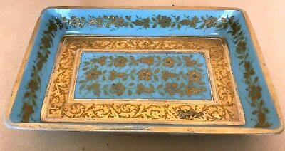 Antique Turquoise Opaline Vanity Tray with Raised Gold