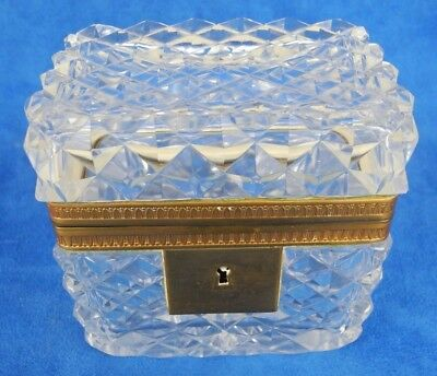 Antique French Baccarat Style Crystal Casket Jewelry Box