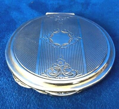 Antique Europe 835 Silver Compact Powder Puff Box With Mirror