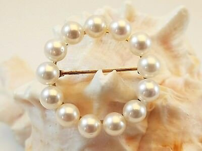 Vintage European 14K Yellow Gold 6mm Creamy Cultured Pearl Circle Pin Brooch