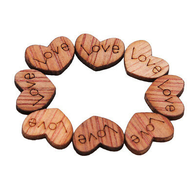 100pcs Rustic Wooden Love Heart Wedding Table Scatter Decor Crafts Jian