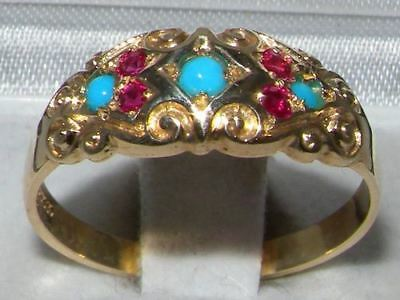 Solid 9ct Gold  Natural Ruby & Turquoise Vintage Style Carved Band Ring