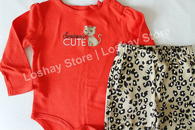 70136fa4be461c Baby Girl 24 M Month Carters Cheetah Red Bodysuit Matching Bottoms Set  Outfit