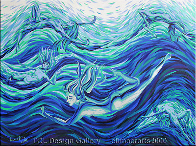 Skinny Dip Nude Female Diving Original Abstract Art Acrylic Painting On Canvas