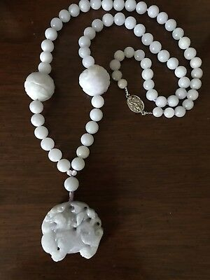 Antique Chinese Lavender Jadeite Foo Dog Lion Pendant Knotted Necklace