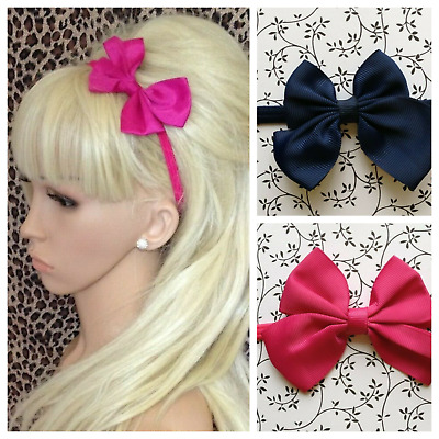 "New 2"" Grosgrain Ribbon Bow Stretch Elastic Hair Headband Girls Red Pink Navy"