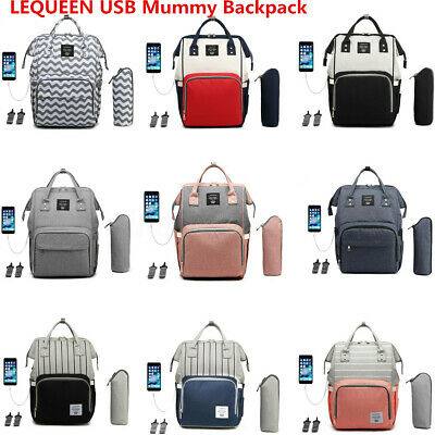 LEQUEEN Large Mummy Maternity Baby Nappy Diaper Bag USB Backpack Travel Rucksack