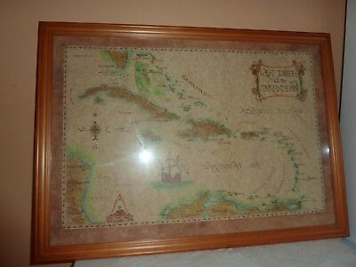 1980's Framed Xandra Fisher 50 By 35Cm Coloured Print Of West Indies & Caribbean