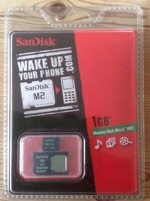 SANDISK Micro M2 Memory Stick 1GB Pro Duo Adapter Psp Go / Sony Cybershot Camera