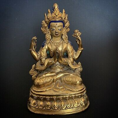 Buddha Asia Tibet China Bronze ANTIQUE BUDDHA STATUE FIGURE OLD Buddha 佛