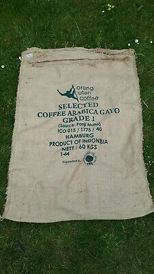 ORANG UTAN COFFEE- Design Used Coffee Sack, Jute, Burlap, Hessian Fabric #11