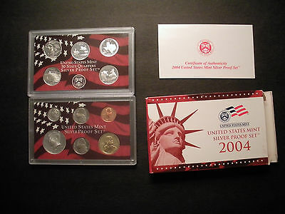 2004 U.S. Mint 11-Coin 90% Silver Proof Set w/ State Quarters with box and COA