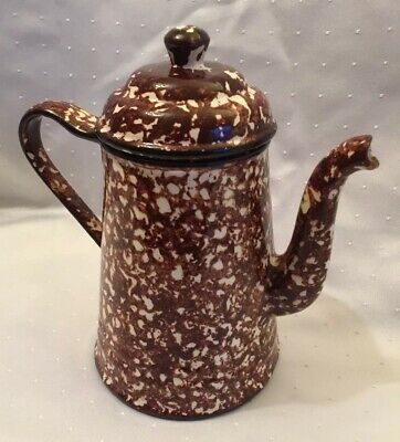 Vintage Stangl Pottery Brown Town and Country Spongeware Lidded Coffee Pot RARE