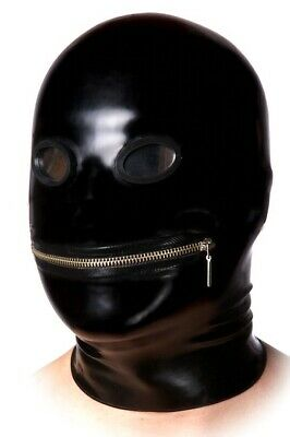 Rare Rubber Latex Alien Zip Mask Fetish Hood Gummi Maske