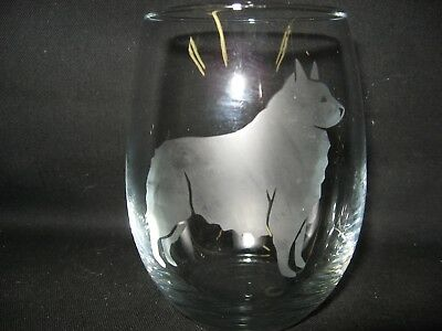 New Etched Schipperke Stemless Wine Glass Tumbler