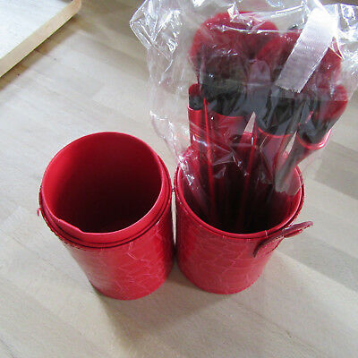 Red Goblet Shaped 10 Piece Professional Makeup Brush Set In Red Holder .