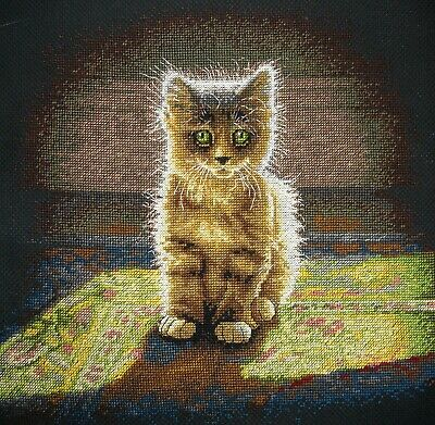 Dimensions Completed Counted Cross Stitch Unframed Picture Warm & Fuzzy Kitten