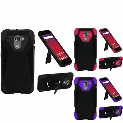 For T-Mobile Revvl Kickstand Case Rugged Dual Layer Hybrid Armor Impact Cover