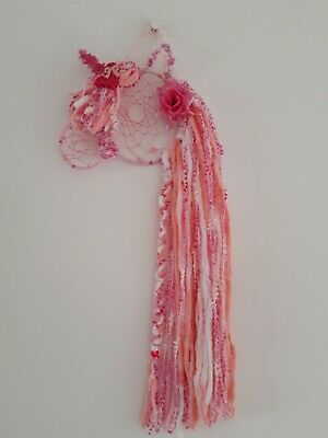 A Handmade Pink And White Sparkly Unicorn Dream Catcher