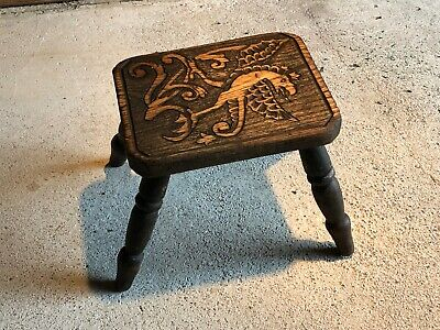 Vintage Wooden Dragon Carved Milking Stool Cute Decorative Item
