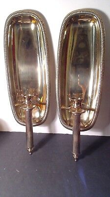 Pair VINTAGE Brass Copper Craft Wall Candle Sconces Holders  17""