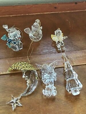 Estate Lot of 6 Clear Acrylic Plastic Snowman Angels Man in Moon Christmas Tree