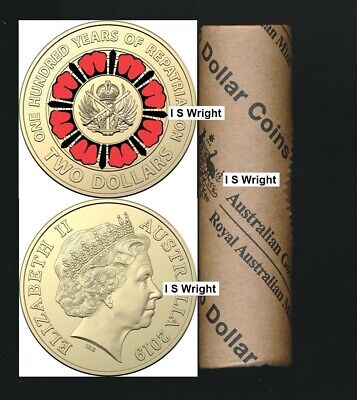 Australia 2019 Red $2 ANZAC Repatriation - Bring Them Home Centenary Mint Roll