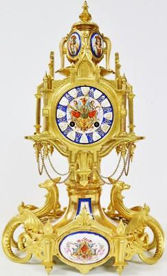 Rare Antique French 8 Day Bronze Ormolu & Gothic Sevres Porcelain Mantle Clock