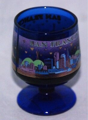San Francisco Shot Glass  - Free Shipping - Vintage - Cobalt Blue