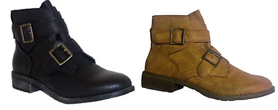 CHIX Leather Look Two Buckle Detail Ankle Boots in Jet Black and Tan Colour