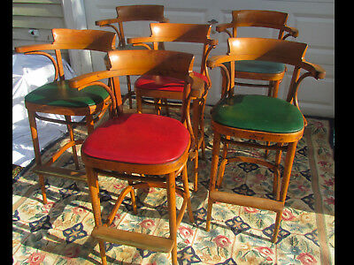 Rare Set of 6 Antique Bentwood Thonet Style Bistro Cafe Chairs - Bar Stools