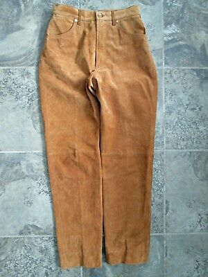 5c1643a4 VTG Wrangler 9 100% Genuine Leather Pants Brown Suede Western 28x29 Work  Ride