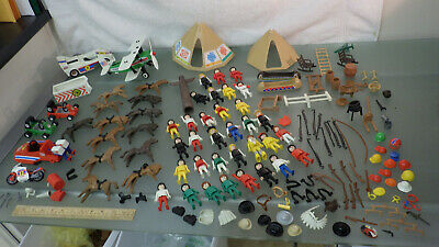 200 Vtg 1980s PLAYMOBIL Geobra Figure & Parts LOT * Western Motorcycle Race Boat